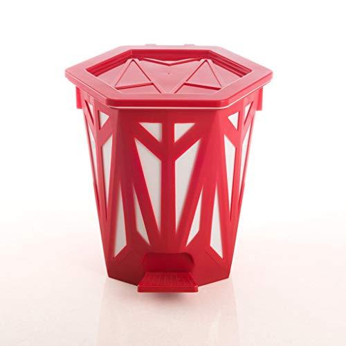 Lovely Trendy interior separable de plástico Pedal papelera latas, papelera, papelera hueca de cocina sala de estar, Rojo, 28.5*26.9cm