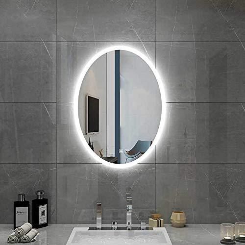 WLHER Badspiegel Mit LED Beleuchtung, Beleuchtet Oval Wandspiegel Lichtspiegel, Antibeschlag + IP44 Wasserdicht, Verwendet Für Badezimmer Schlafzimmer Make-Up