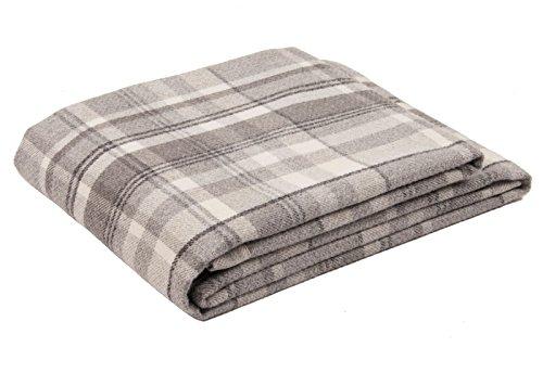 McAlister Textiles Heritage | Überwurf im Tartan-Muster kariert 265cm x 380cm in Anthrazit Grau | Decke für Sofa, Bett, Sessel, Picknick, Schottenkaro