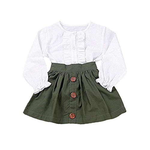 Little Girls Two Piece Clothes Set Good Kids Fall School Oufits Ruffles Clean White Shirt Buttons A-line Skirt (1-2 Years, White)