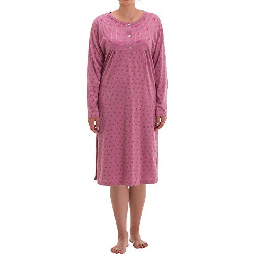 Zeitlos Damen Nachthemd Blumen Druck (XXL, Altrosa)