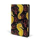 Ocean/hippocampe Couverture de livre en cuir Motif hippocampe Doré Format A5 14,7 x 22,1 cm Pour filles et garçons
