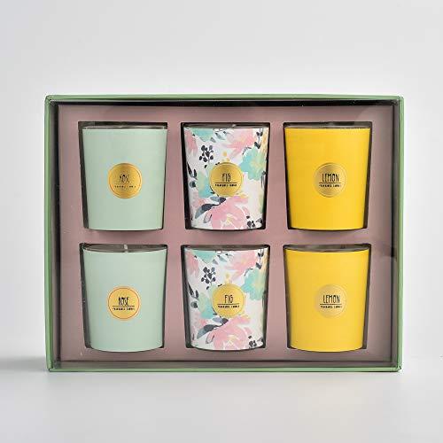 Meilo Juego de Regalo de Velas aromáticas, Velas aromáticas, Velas de Vidrio,Fragancia de limón, Higo, Rosa,Hechas de Cera de Soja,6 Piezas/Paquete (Suit)