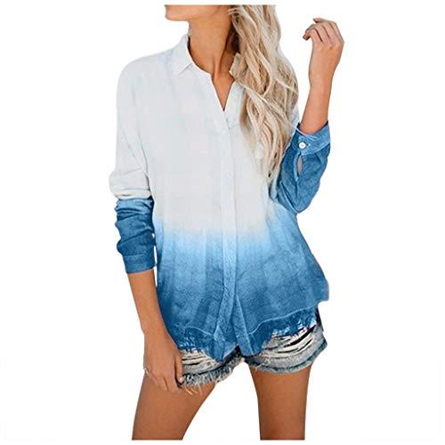 Amcool Damen Bluse Chiffon Elegant V-Ausschnitt Langarm Casual Oberteile Hemd Lose Farbverlauf Langarmshirt Tops Tunika Hemd T-Shirt
