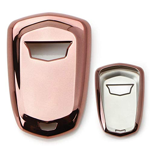 iJDMTOY Chrome Finish Pink Rose Gold TPU Key Fob Protective Cover Case Compatible With 2015-up Cadillac ATS CTS CT6 ELR XTS XT5 SRX Escalade (Please verify your actual key before buying)
