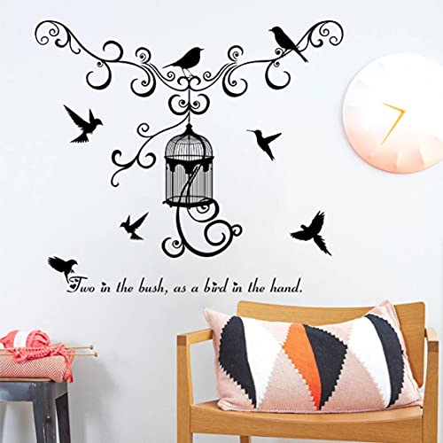 Rjjrr Bird Cage Wall Stickers Home Decoration Hallway Tv Background Decoration Removable Waterproof Environmental PVC Decals Bedroom
