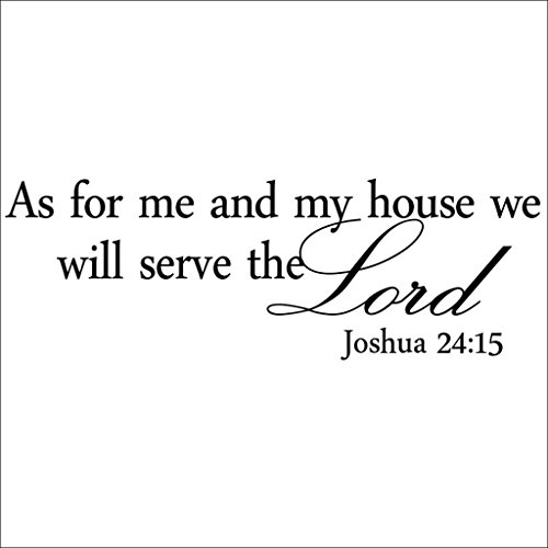 Hi-Shop As for Me and My House We Will Serve The Lord Quote Decors Wall Saying Decals Quote for Home Wall Stickers Bedroom Decor(2)