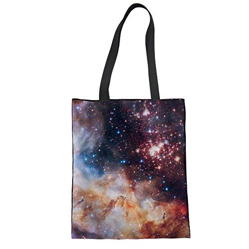 Showudesigns Damen Canvas Tote Bag with Insert Organizer Animal Designer Schwarz, Canvas, Galaxy, One Size