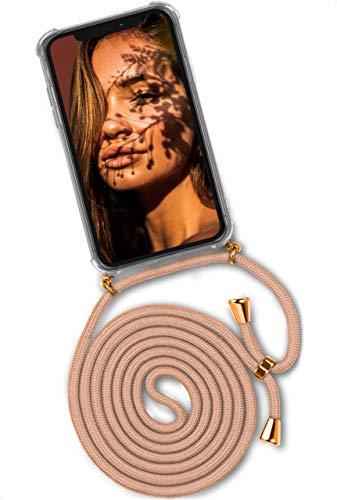 ONEFLOW Twist Hülle kompatibel mit iPhone 12/12 Pro - Handykette, Handyhülle mit Band zum Umhängen, Hülle mit Kette abnehmbar, Gold Beige