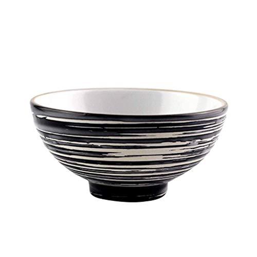 Cuenco, vajilla de cerámica Tazón de arroz Zephyr de estilo japonés Tazón de sopa Tazón de cerámica Tazón negro 11 5.5cm