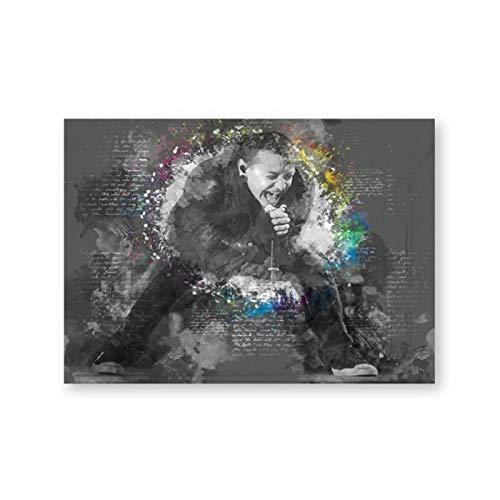 LLSDSD Immagini Moderne di Arte della Parete di Bianco e Nero Chester Bennington Stampe d'Arte su Tela Poster di Musica per la Decorazione del Soggiorno 20x30 Pollici 1 pz Senza Cornice