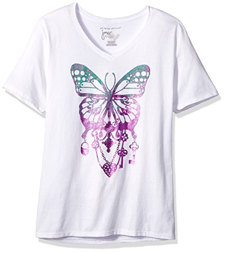 JUST MY SIZE Women's Size Plus Printed Short-Sleeve V-Neck T-Shirt, Bedecked Butterfly/White, 1X