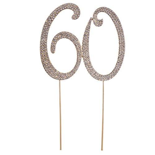 STOBOK Kuchen Topper Strass 60 Zahl Kuchendeckel Kuchendekoration 60.Jahrestag Geburtstag Party Zubehör (Golden)