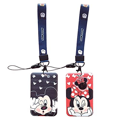 Llaves Cordón de Muñeca Correa, 2 Piezas Cordón de Mickey Mouse de Disney, Cinta Cuello Tarjeta Identificativa, Correa Para el de Gran Calidad Con Estampado de Colores Por Los Dos Lados (Negro/Rojo)