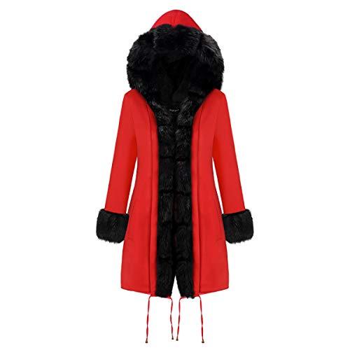 MJLAD Damen Winter großen Pelzkragen Mantel, Fleece Kragen schlanke Jacke, Lange kapuzenwattierte Jacke, stilvolle Elegante Winterjacke-M
