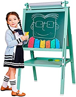 3 in 1 Wooden Kids Easel Double-Sided Drawing Board Whiteboard & Chalkboard Dry Easel with Drawing axis & Paper Roll, Numbers, Paint Cups for Writing Kids Boys Girls (Turkis)