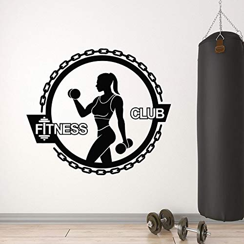 JHGJHGF Adesivi murali Ragazza Muscolare Sport Stile di Vita Sano Logo Porte e finestre Adesivi in Vinile Palestra Fitness Club Decorazione d'interni Carta da Parati