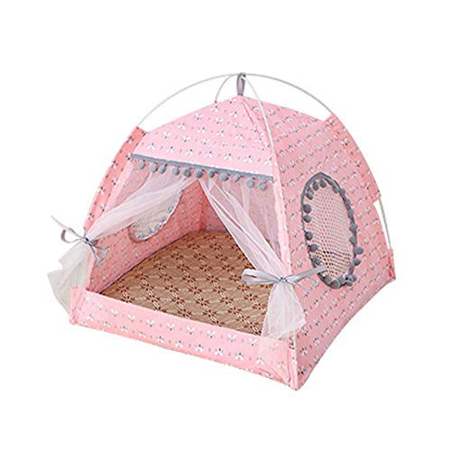 Dog Cave  Foldable Pet Dog Tent House Portable Cute Pattern Soft Mat Sturdy Cat Cage Pet Cat Small Dog Puppy Kennel Tents Pet Supplies-Pink Flower-M