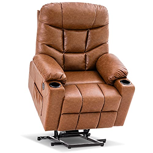 Mcombo Electric Power Lift Recliner Chair Sofa for Elderly, 3 Positions, 2 Side Pockets and Cup Holders, USB Ports, Faux Leather 7288 (Saddle)