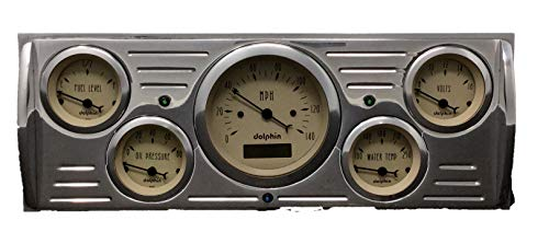 Dolphin Gauges 1941 1942 1943 1944 1945 1946 Chevy Truck 5 Gauge Dash Cluster Panel Set Programmable Tan