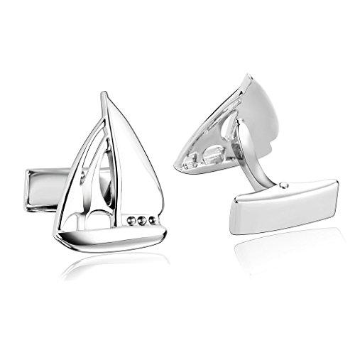 AnazoZ Schmuck Edelstahl Herren Manschettenknöpfe Segeln Yacht Segelboot Silber, Manschetten Knöpfe für Männer