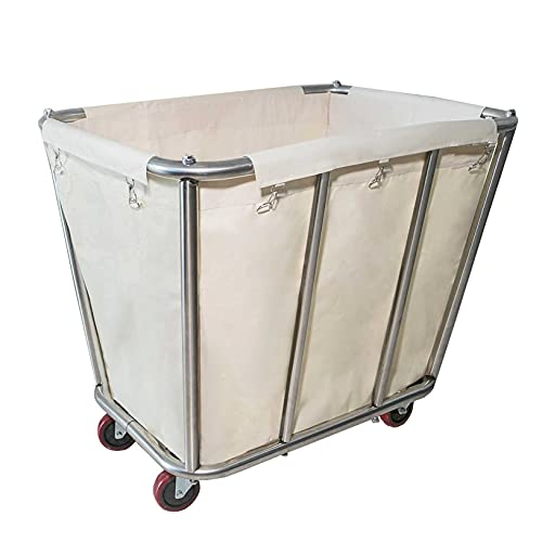 Laundry Cart ,Industrial Commercial Large Rolling Laundry Cart Dirty Clothes Bin with Wheels,Heavy Duty Canvas Hamper ,10 Bushel,Beige,260LBS Load Laundry Cart (Beige)