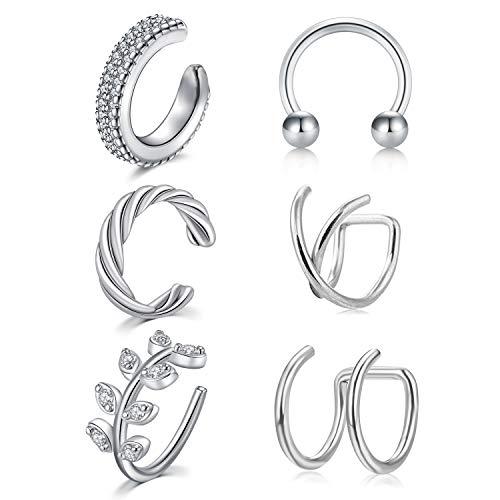 Longita 6 Stück Fake Nasenpiercing Nasenring Mix Größe Chirurgenstahl Ohr Ear Cuff Clip-on Fake Helix Knorpel Ohrring für Herren Damen Piercing Septum Ring