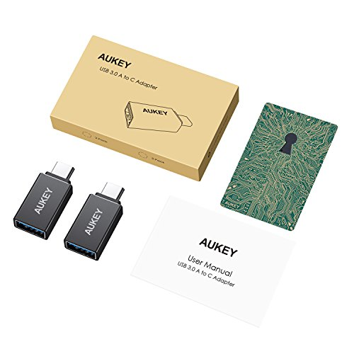 AUKEY USB C to USB 3.0 Adapter Aluminum Mini USB Type C Adapter Compatible with MacBook Pro 2017/2016, Google Chromebook Pixel book, SamsungS9 S8 S8Plus Note 8, Google Pixel 2/2XL-Black
