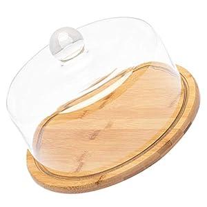 YARNOW ケーキスタンドカバー木製トレイケーキチョコレートカップケーキキャンディスナック表示板クリアガラスクローシュドーム21センチメートル