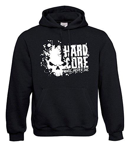 KNOW-MORE-STYLEZ Hooded Sweatshirt Hardcore Will Never DIE Kapuzenpulli Pulli Hoodie (M)