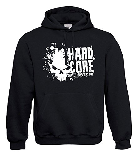 KNOW-MORE-STYLEZ Hooded Sweatshirt Hardcore Will Never DIE Kapuzenpulli Pulli Hoodie (L)