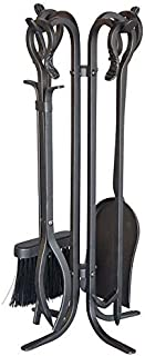 Plow & Hearth 5 Piece Hand Forged Iron Compact Fireplace Tool Set Poker Tongs Shovel Broom and Stand Shepherd's Hook Style Wood Stove Firepit Accessories Natural Black Finish 10.25 sq. x 20 H