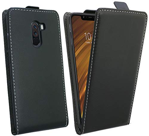 cofi1453 Flip Hülle kompatibel mit Xiaomi PocoPhone F1 Handy Tasche vertikal aufklappbar Schutzhülle Klapp Hülle Schwarz