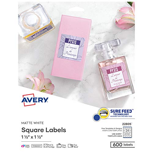 "Avery Printable Blank Square Labels, 1.5"" x 1.5"", Matte White, 600 Customizable Labels (22805)"