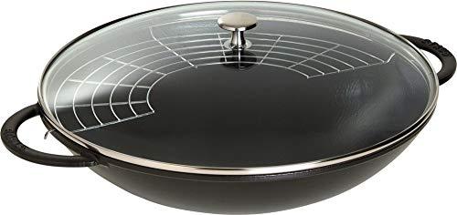 Wok aus Gusseisen für Induktion schwarz mit Griffen und Glasdeckel Staub, Durchmesser 370 mm
