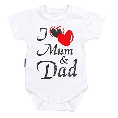 TupTam Unisex Baby Kurzarm Body Spruch Mamas & Papas Schatz, Farbe: I love Mum and Dad / Weiß, Größe: 74