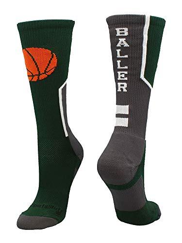 MadSportsStuff - Calcetines de baloncesto con logo de baloncesto, S, Verde Oscuro/Grafito