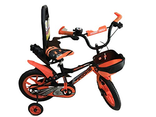 """Rising India 14"""" Sports Kids Bicycle for 3-5 Years with Full Chain Cover and Bottle Semi Assembled (Matte Black Neon Orange)"""