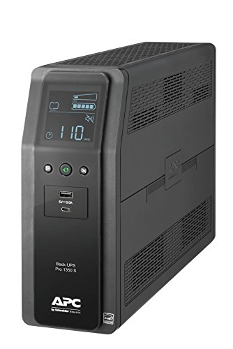 APC UPS, 1350VA Sinewave UPS Battery Backup & Surge Protector, BR1350MS Backup Battery with AVR, (2) USB Charger Ports, Back-UPS PRO Uninterruptible Power Supply