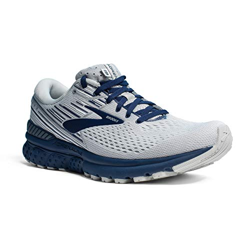 Brooks Mens Adrenaline GTS 19 Running Shoe - White/Grey/Navy - D - 12.0