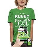 PIXEL EVOLUTION T-Shirt 3D Rugby Texte Personnalisable en Réalité Augmentée Enfant - Taille 9/11 Ans - Vert