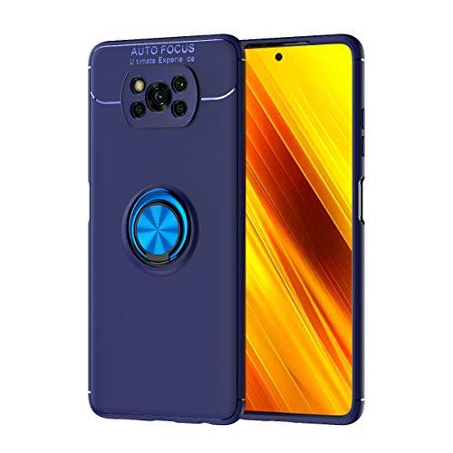 Dedux Hülle Xiaomi Poco X3 Pro / X3 NFC, Ultradünnes Weiches Silikon Magnetischen Autohalterungen Handyhülle Mit 360 Verdrehbare Ring. Blau + Blau