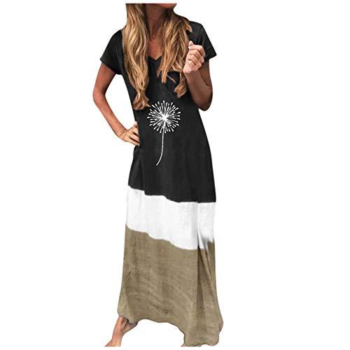 Aniywn Women's Long Dress V-Neck Short Sleeve Floral Maxi Dress Color Block Beach Party Sundress for Ladies