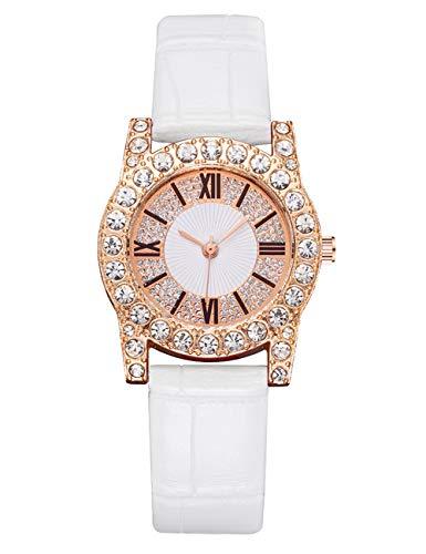 CIVO Damen Uhr Damen wasserdichte Armbanduhr Leder Uhr Beiläufig Designer Diamant Analoge Quarzuhren für Damen Mädchen Weiß
