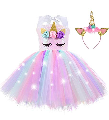 Sequin Light Up Unicorn Birthday Decorations Costume Tutu Dress for Girls Kids with Headband Princess Outfits Gifts Christmas Party Dance Pink Age 5 - 6 Years Old