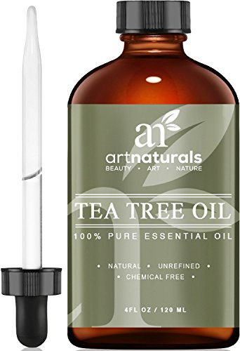 Aceite esencial de árbol de té ArtNaturals - 4 oz Pure Melaleuca Therapeutic Grade - Uso con jabón y champú, lavado de rostro y cuerpo - Tratamiento para el acné, los piojos y muchas enfermedades de la piel ArtNaturals Tea Tree Essential Oil - 4 oz Pure and Natural Premium Melaleuca Therapeutic Grade - Use with Soap and Shampoo, Face and Body Wash - Treatment for Acne, Lice and Many Skin Conditions