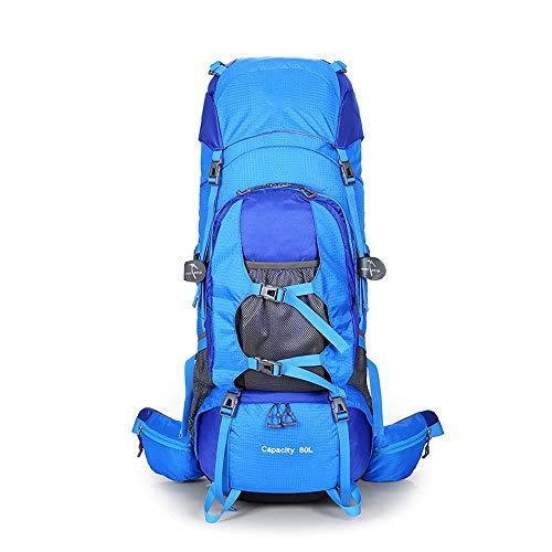 CLCCYYSJD 80L Large Capacity Hiking Backpack, Outdoor Sports Backpack Camping, Ultra Waterproof Rucksack Mountaineering Bag for Camping Trekking (Color : Blue)