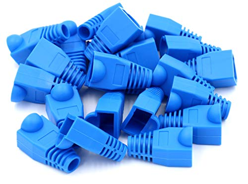 iExcell 100 Pcs Blue RJ45 Ethernet Network Cable Strain Relief Boots