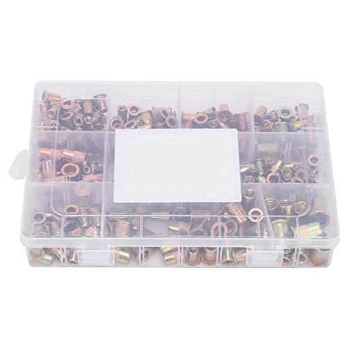 Tuercas remachables, 300 piezas de tuercas remachadoras ciegas, juego de accesorios de hardware de grano vertical de acero de zinc chapado en color