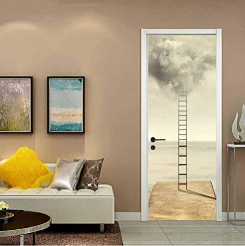 geen merk 3D Diy Deur Sticker Ladder 3D Woonkamer Slaapkamer Kantoor Huis Home Decor Kwekerij Restaurant Café Hd Creative Poster.77X200Cm